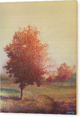 Three Red Trees Wood Print