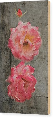 Wood Print featuring the digital art Three Roses by Dale Stillman