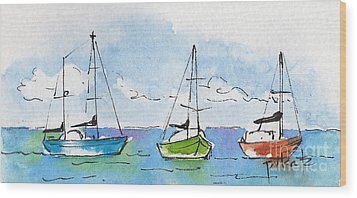 Three Sailboats Near Tahiti Wood Print