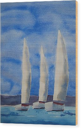 Three Sails Wood Print by Patricia Caldwell