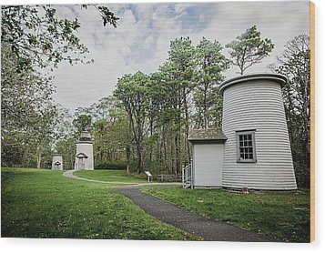 Three Sisters Lighthouses Wood Print