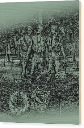 Wood Print featuring the photograph Three Soldiers Memorial by David Morefield