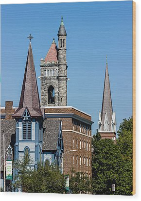 Three Steeples Of St Johnsbury Vermont Wood Print by Tim Kirchoff