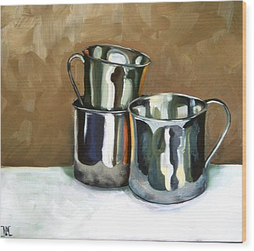 Three Sterling Cups Wood Print by Amy Higgins