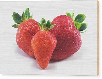 Three Strawberries Wood Print