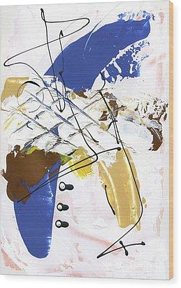 Three Color Palette Blue 3 Wood Print by Michal Mitak Mahgerefteh