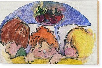 Three Sugar Plum Dreamers Wood Print by Mindy Newman