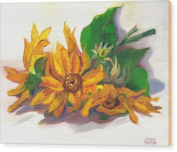 Wood Print featuring the painting Three Sunflowers by Susan Thomas