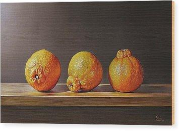 Wood Print featuring the drawing Three Tangelos by Elena Kolotusha