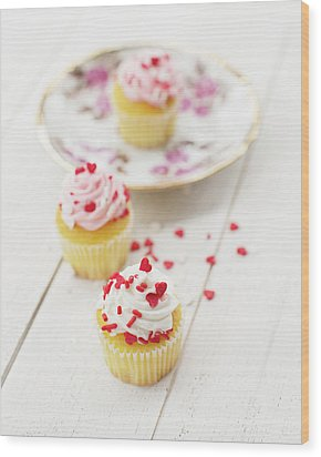 Wood Print featuring the photograph Three Tiny Cupcakes by Rebecca Cozart