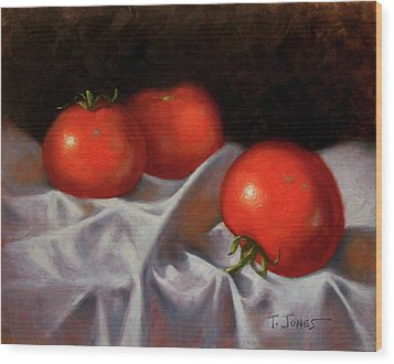 Three Tomatoes Wood Print
