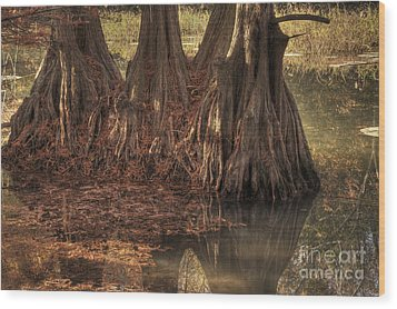 Wood Print featuring the photograph Three Trees In Lake Murray by Tamyra Ayles