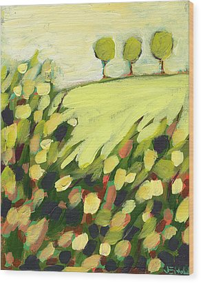 Three Trees On A Hill Wood Print by Jennifer Lommers