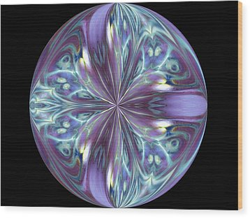 Three Violet Petals Wood Print by Yvette Pichette