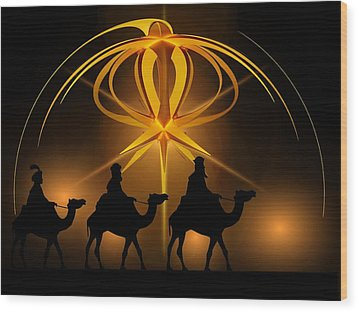 Three Wise Men Christmas Card Wood Print