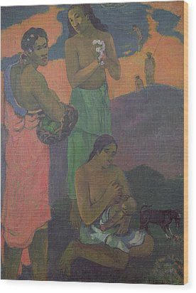 Three Women On The Seashore Wood Print by Paul Gauguin