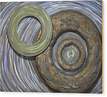 Wood Print featuring the painting Threes A Crowd by Jacqueline Athmann