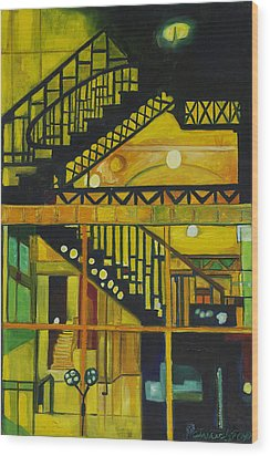 Through Parisian Glass Wood Print by Patricia Arroyo