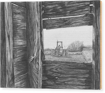 Through The Barn Wood Print by Dean Herbert