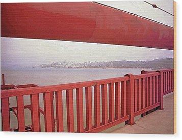 Through The Bridge View Of San Francisco Wood Print by Steve Ohlsen
