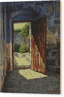 Through The Door Wood Print