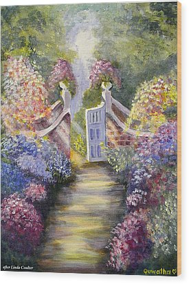 Wood Print featuring the painting Through The Garden Gate by Quwatha Valentine