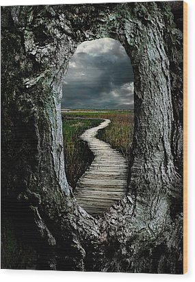 Through The Knot Hole Wood Print