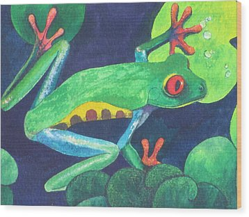 Through The Lily Pads. Wood Print by Vivien Rhyan