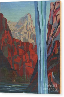 Wood Print featuring the painting Through The Narrows, Zion by Erin Fickert-Rowland