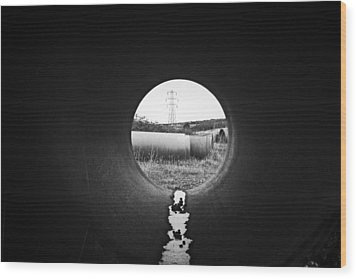Wood Print featuring the photograph Through The Pipe by Keith Elliott