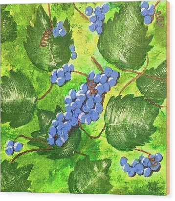 Wood Print featuring the painting Through The Vines by Cynthia Morgan