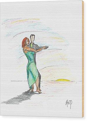 Through 'til Dawn... Sketch Wood Print by Robert Meszaros