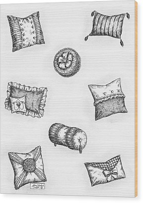 Throw Pillows Wood Print by Adam Zebediah Joseph