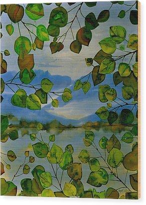 Thru The Aspen Wood Print by Carolyn Doe