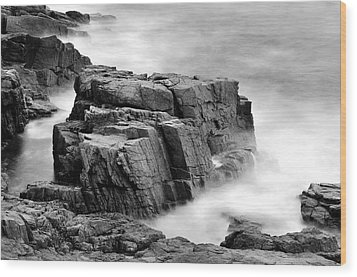 Thunder Along The Acadia Coastline - No 1 Wood Print by Thomas Schoeller