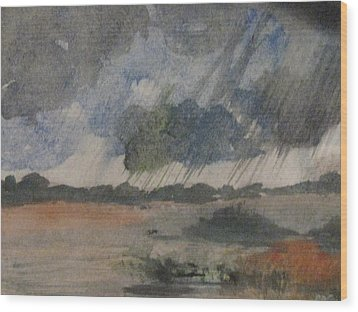 Wood Print featuring the painting Thunder Showers by Trilby Cole