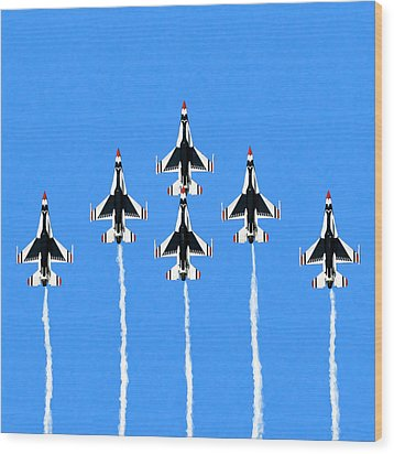 Wood Print featuring the mixed media Thunderbirds Flying In Formation by Mark Tisdale