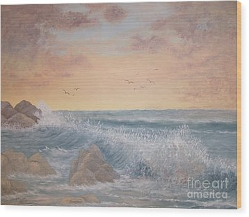 Thundering Sea Wood Print