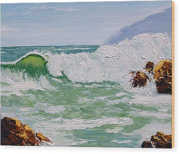 Thundering Surf Wood Print by Lorraine Foster