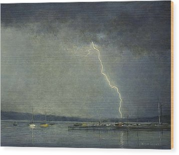 Thunderstorm Over Cazenovia Lake Wood Print by Wayne Daniels