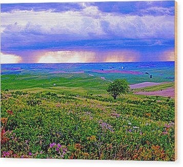 Thunderstorm Over The Palouse Wood Print