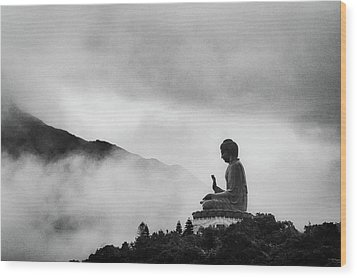 Tian Tan Buddha Wood Print by picture by Chris Kench Photography