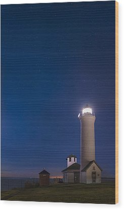 Wood Print featuring the photograph Tibbets Point Light Night by Mark Papke