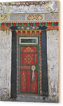 Tibet Red Door Wood Print
