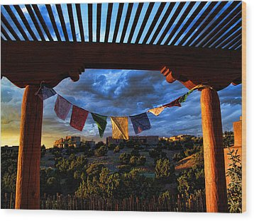 Tibetan Prayer Flags Outside My Office At Sundown Wood Print by Paul Cutright