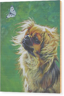 Tibetan Spaniel And Cabbage White Butterfly Wood Print by Lee Ann Shepard