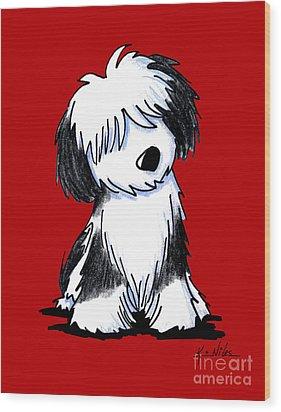 Tibetan Terrier On Red Wood Print