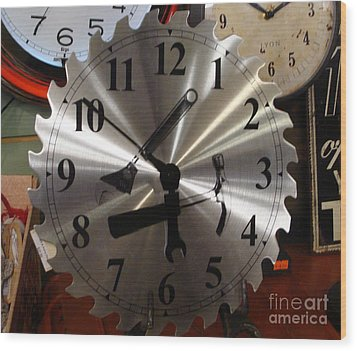 Wood Print featuring the painting Tick Tock Tick Tock by Rod Jellison