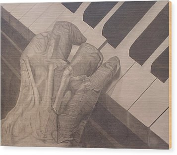 Wood Print featuring the drawing Tickling The Ivory by Wil Golden