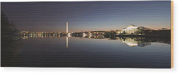 Tidal Basin At Night Wood Print